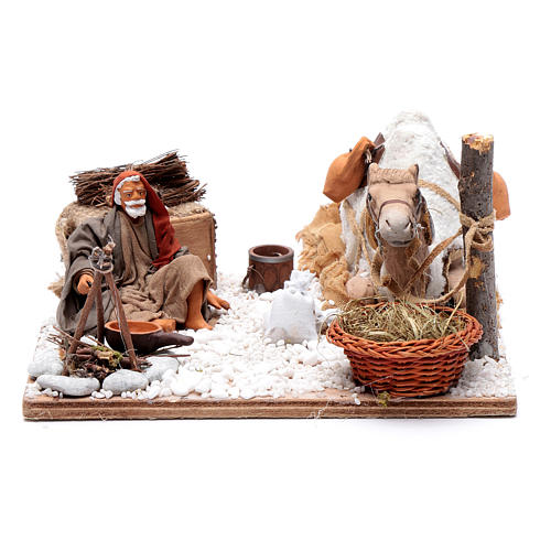 Man with camel, animated Neapolitan Nativity figurine 12cm 1