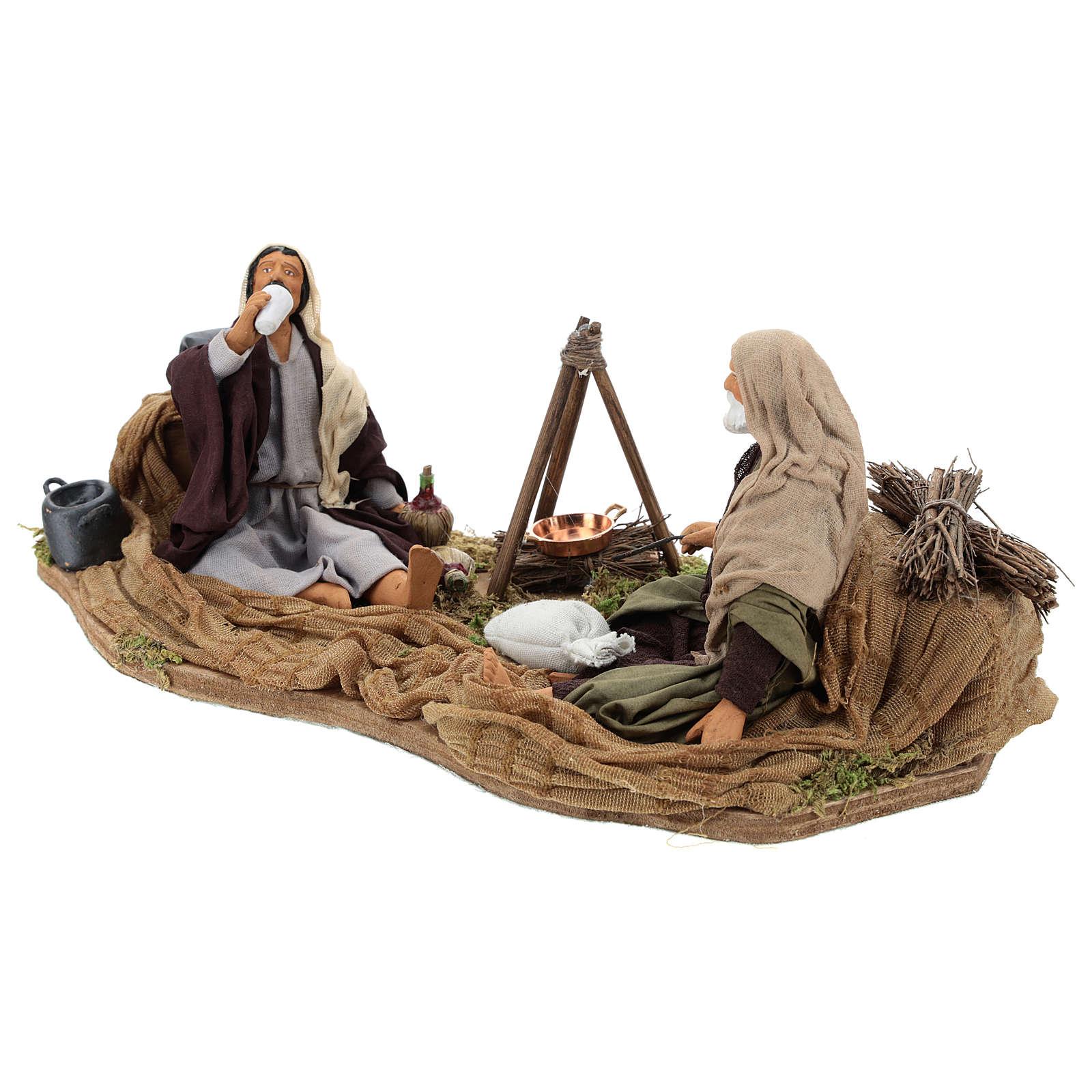Camping scene, animated Neapolitan Nativity figurine 14cm 4
