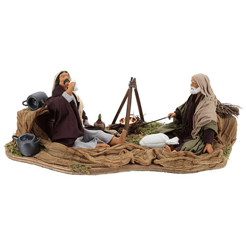 Camping scene, animated Neapolitan Nativity figurine 14cm 1