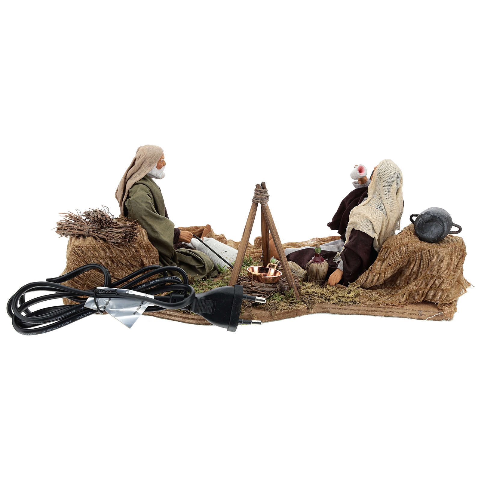Camping scene, animated Neapolitan Nativity figurine 14cm 4