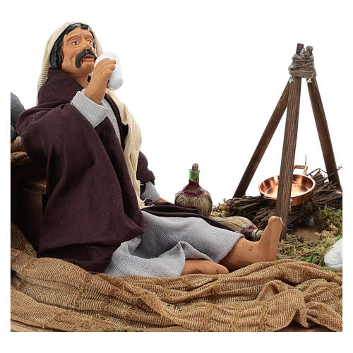 Camping scene, animated Neapolitan Nativity figurine 14cm 2