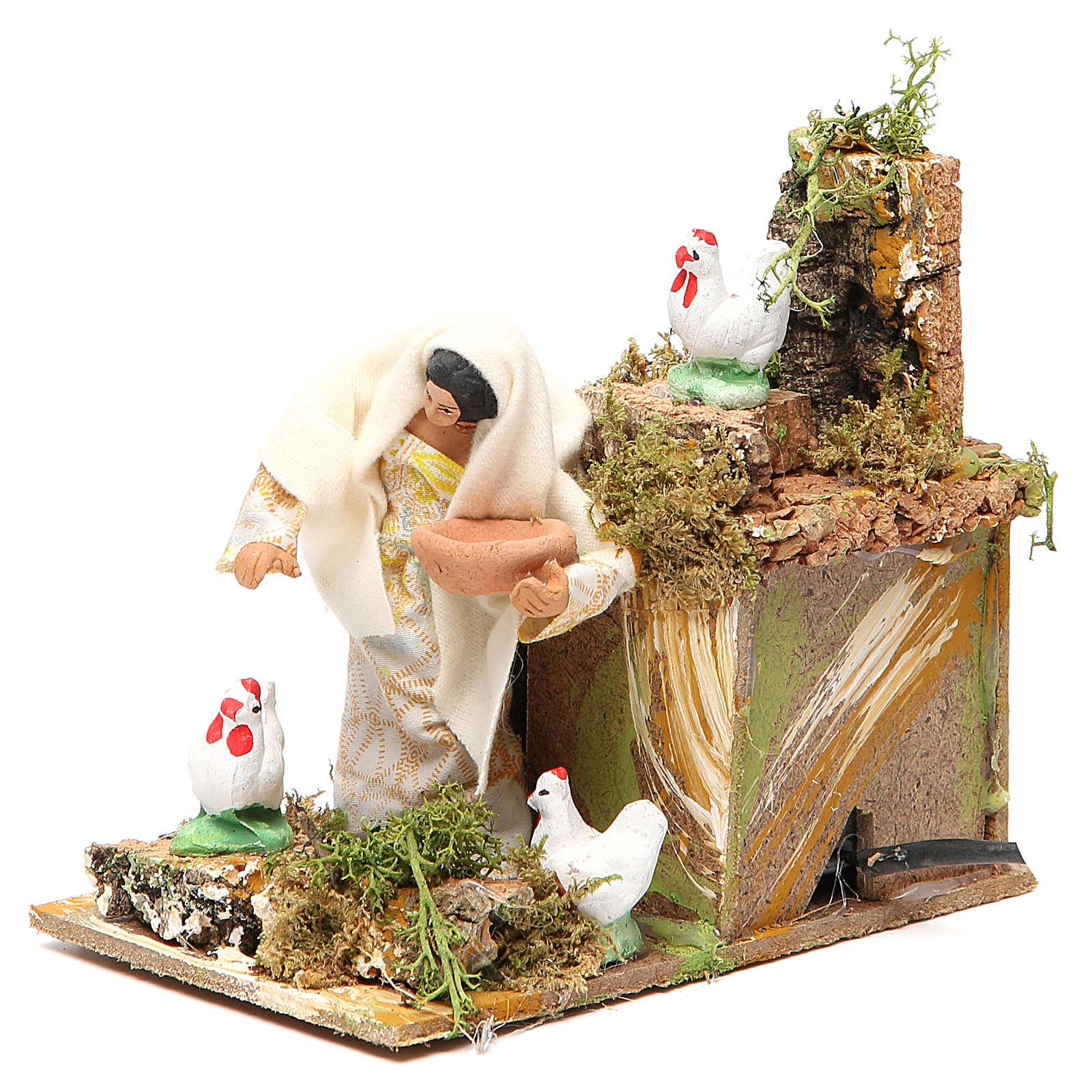 Animated nativity figurine 10cm farmer with hens 3