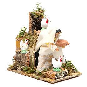 Animated nativity figurine 10cm farmer with hens s3