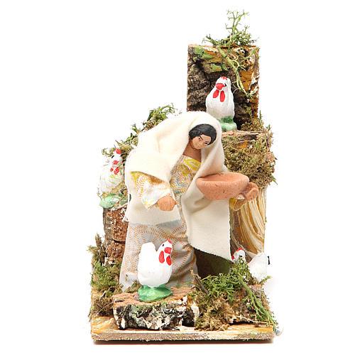 Animated nativity figurine 10cm farmer with hens 1
