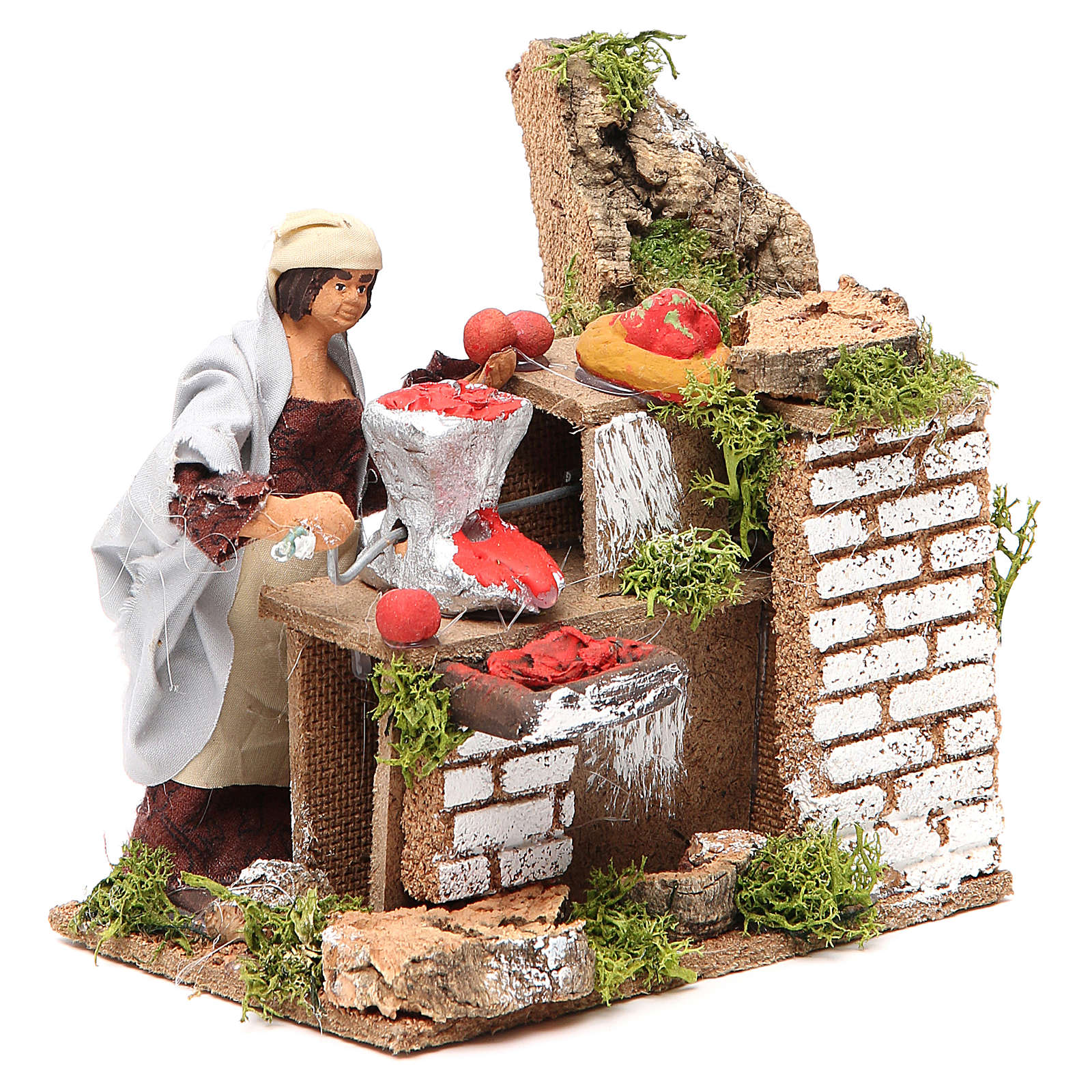 Animated nativity figurine 10cm woman with tomatoes 3