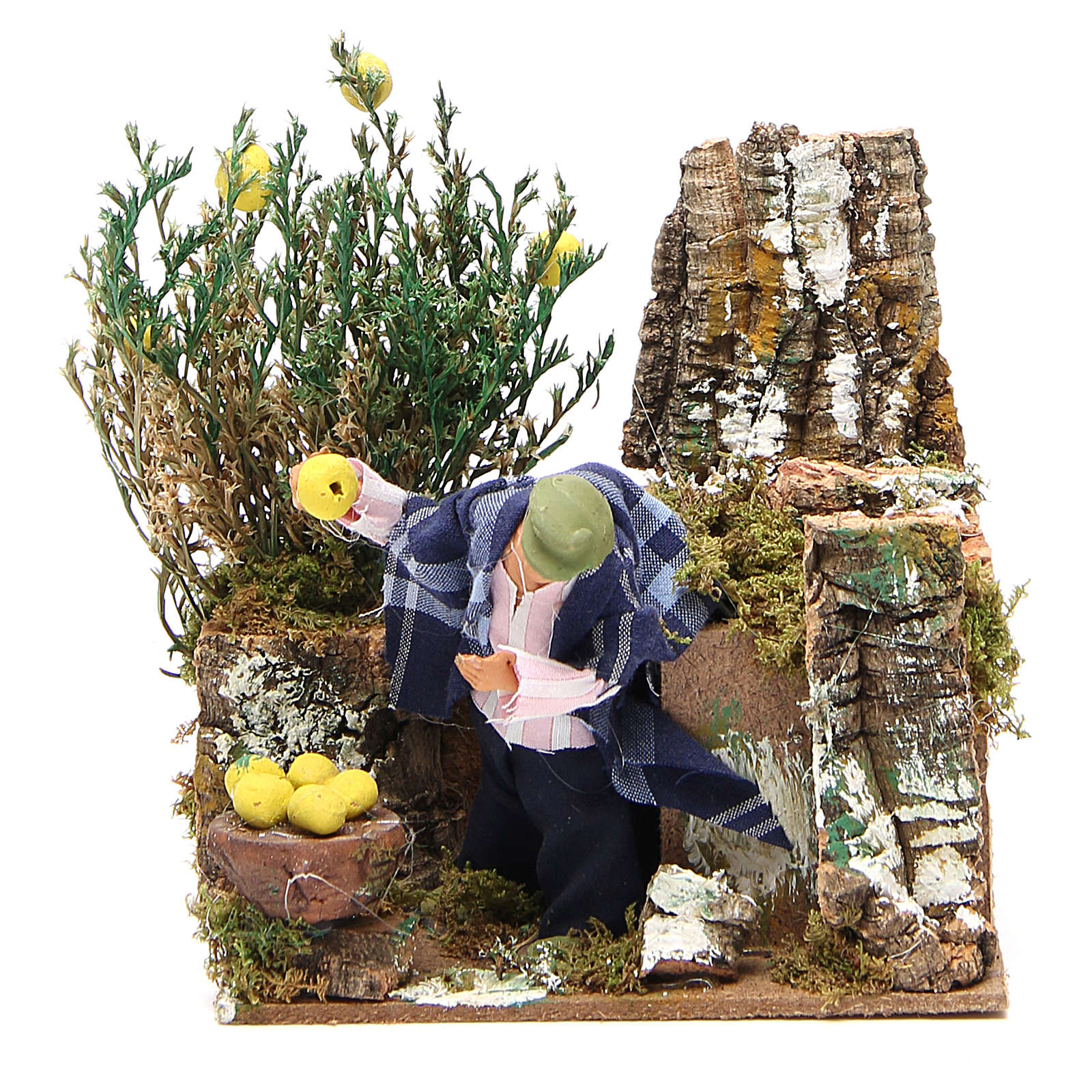 Animated nativity figurine 10cm man collecting lemons 3