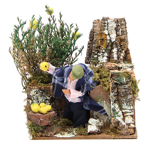 Animated nativity figurine 10cm man collecting lemons 1