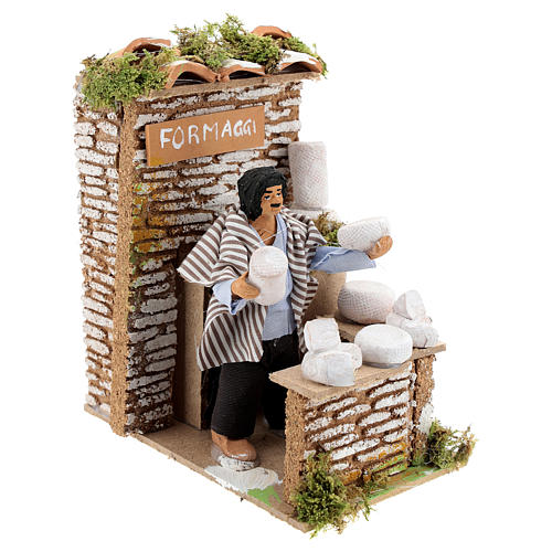 Animated nativity figurine 10cm man cheese seller 3
