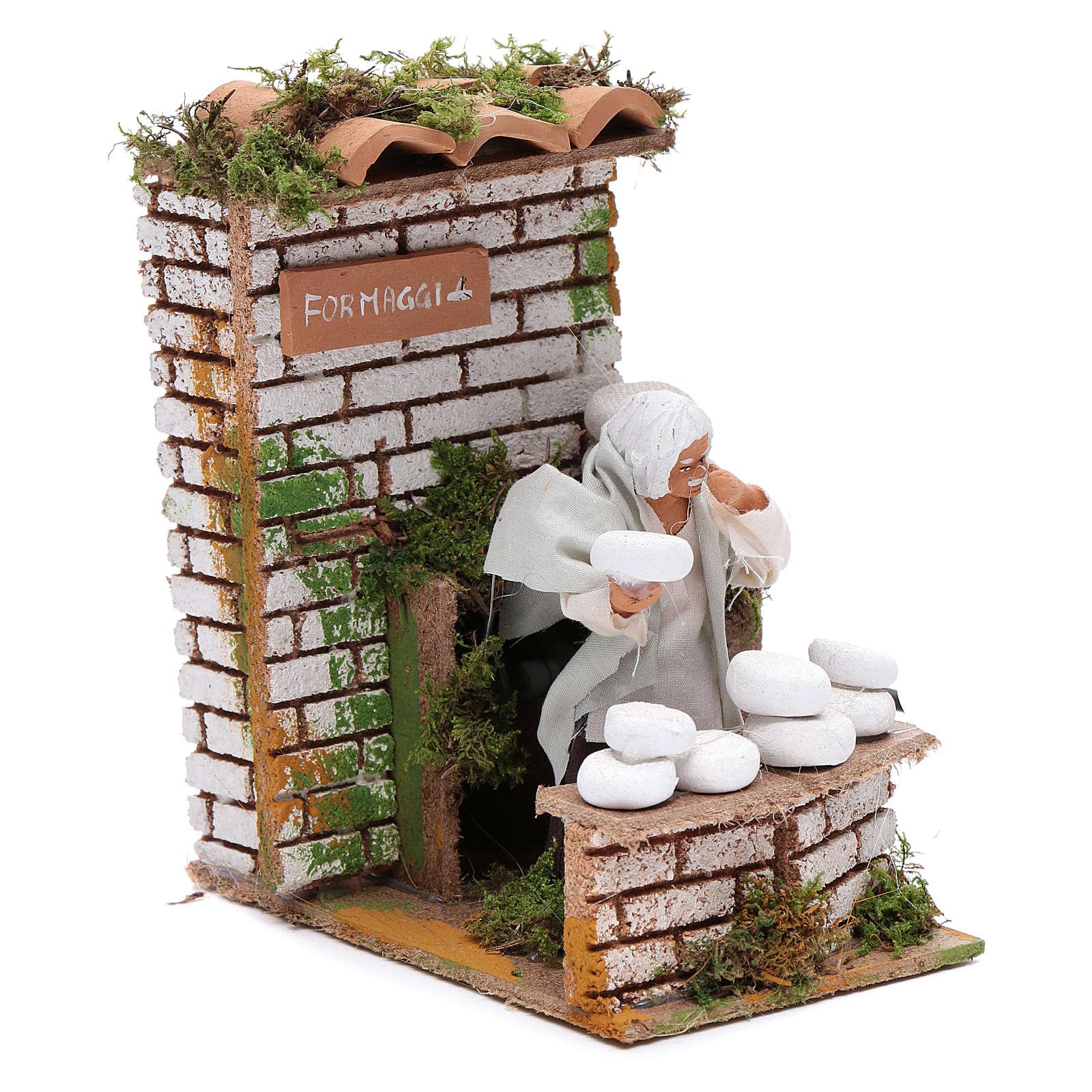 Animated nativity figurine 10cm man cheese seller 3