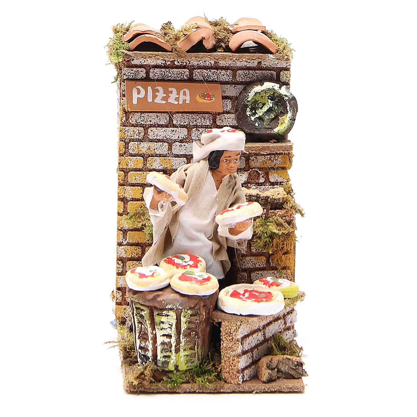 Bottega della pizza 10 cm movimento presepe 3