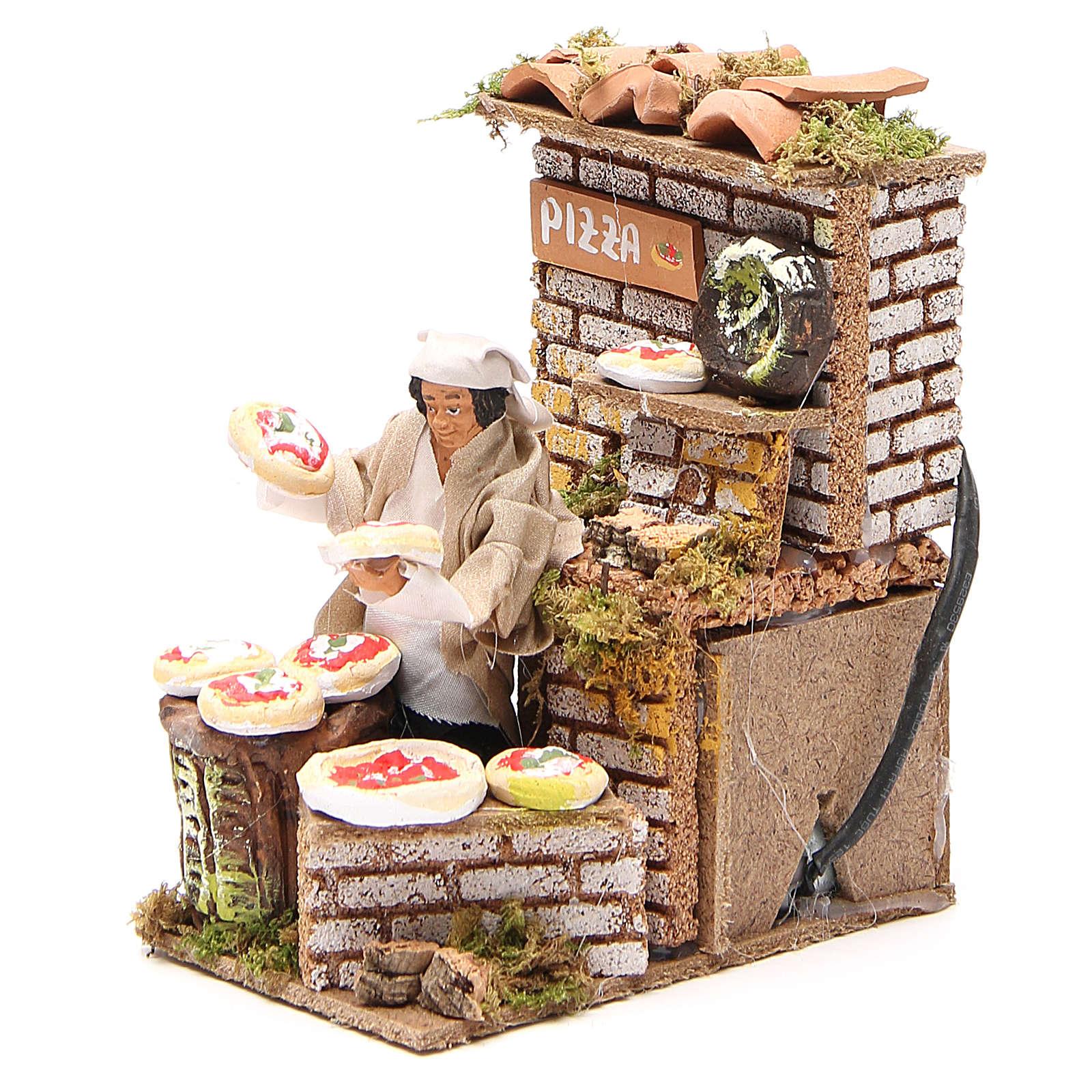 Animated nativity figurine 10cm pizza stall 3