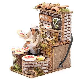 Animated nativity figurine 10cm pizza stall s2