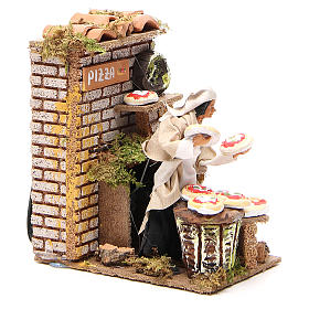 Animated nativity figurine 10cm pizza stall s3