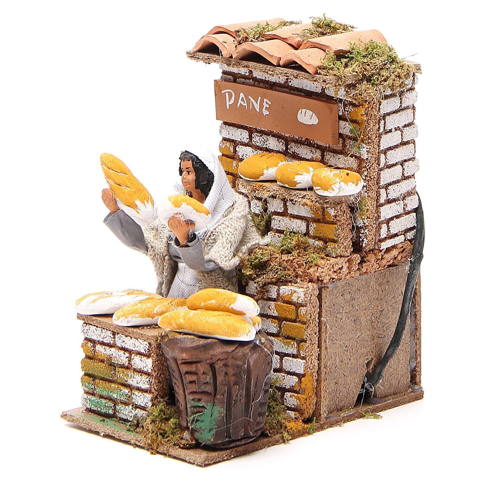 Animated nativity figurine 10cm bread stall 3