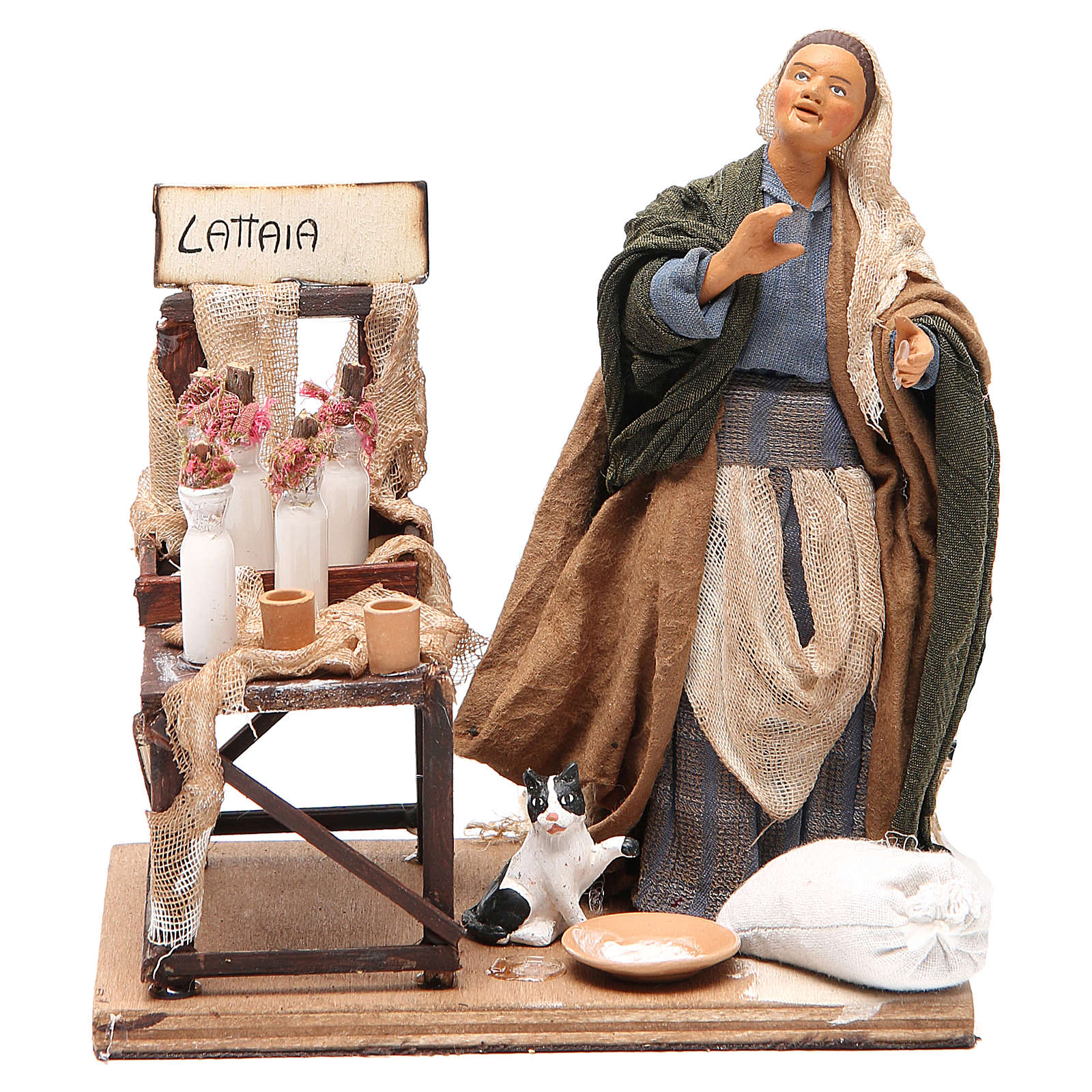 Milk seller with stall, animated Neapolitan Nativity figurine 14cm 4
