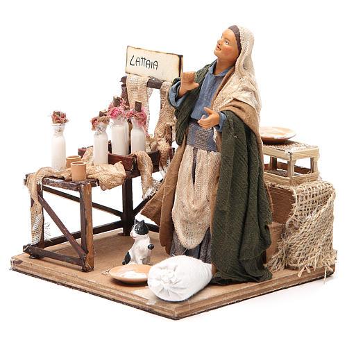Milk seller with stall, animated Neapolitan Nativity figurine 14cm 2