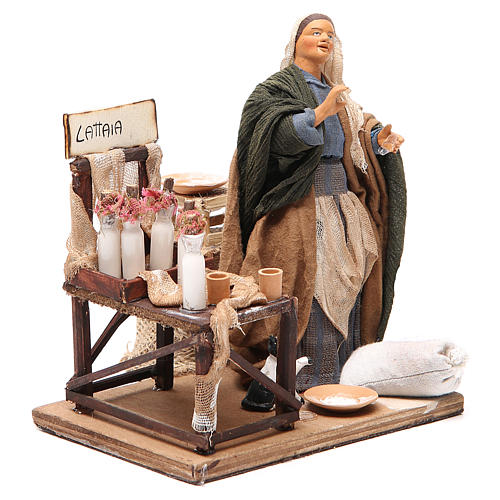 Milk seller with stall, animated Neapolitan Nativity figurine 14cm 3