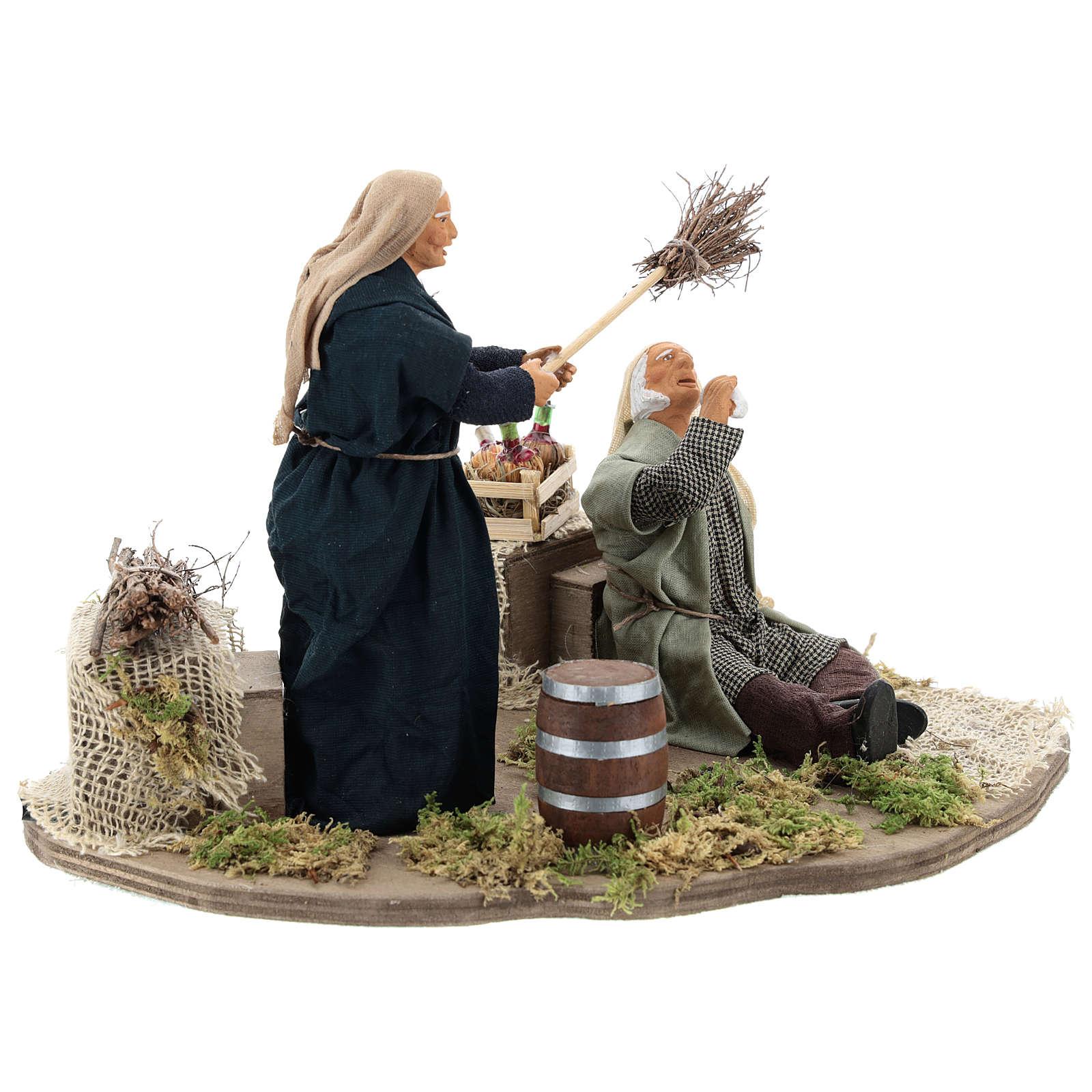 Drunkard and Woman with broom 14cm neapolitan animated Nativity 4