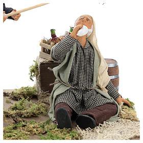 Drunkard and Woman with broom 14cm neapolitan animated Nativity s2