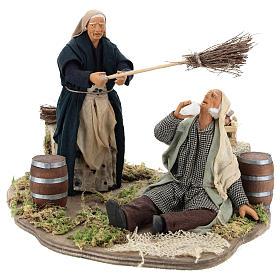 Drunkard and Woman with broom 14cm neapolitan animated Nativity s3