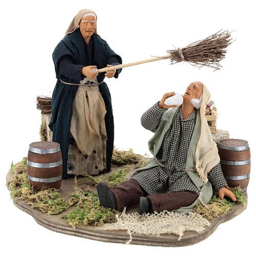 Drunkard and Woman with broom 14cm neapolitan animated Nativity 3