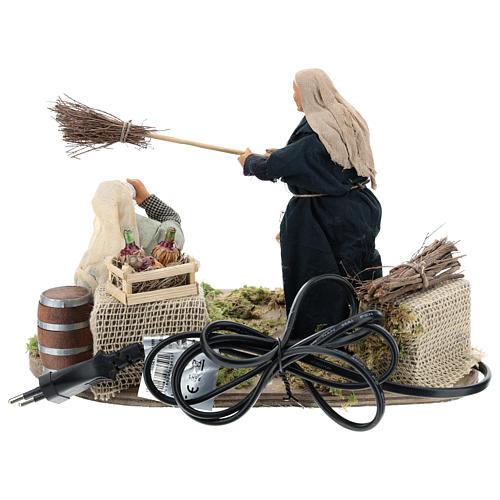 Drunkard and Woman with broom 14cm neapolitan animated Nativity 5