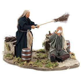 Presépio Napolitano: Bêbado e mulher com vassoura movimento para presépio napolitano com figuras de 14 cm de altura média