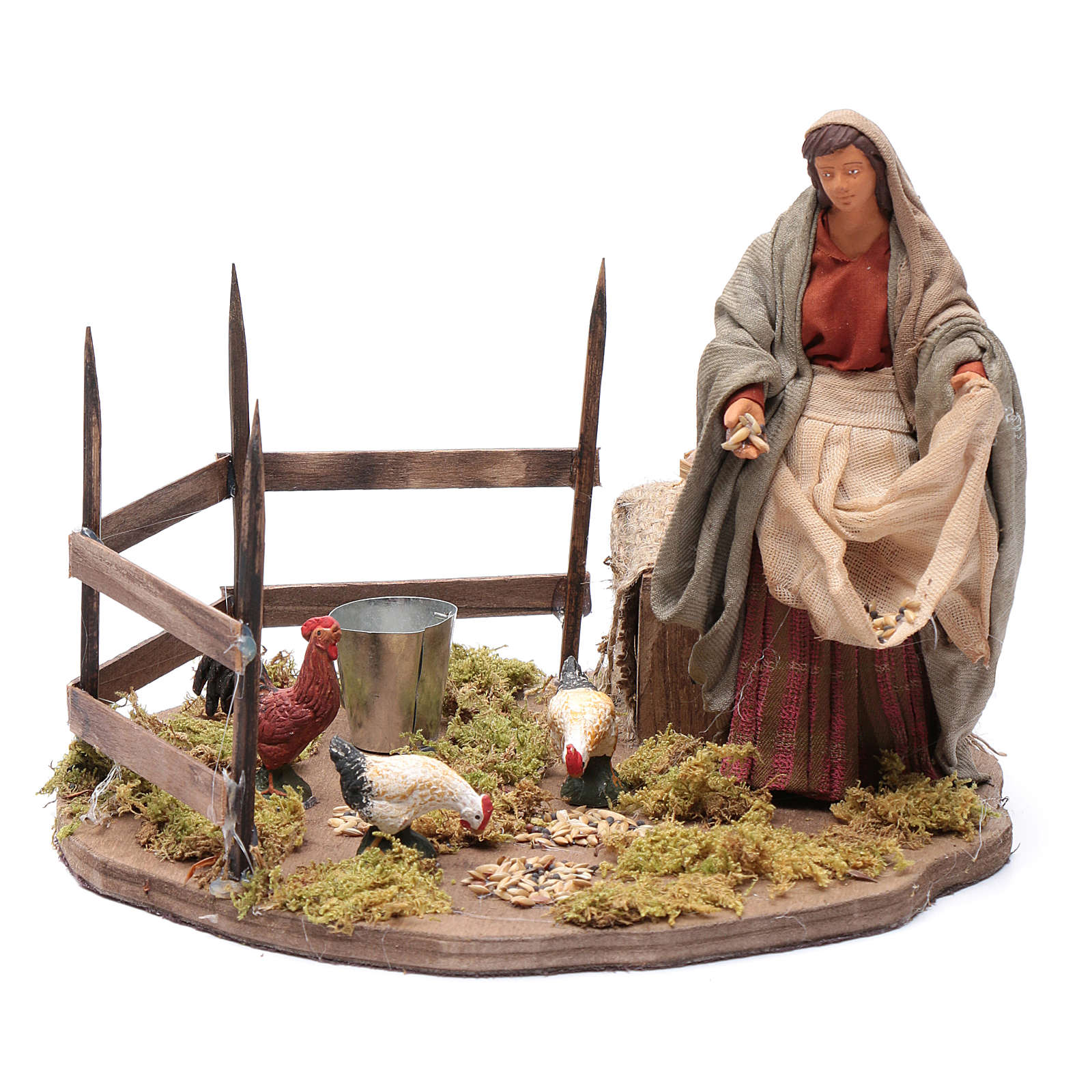 Lady feeding birds, animated Neapolitan Nativity figurine 14cm 4