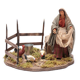 Lady feeding birds, animated Neapolitan Nativity figurine 14cm s1