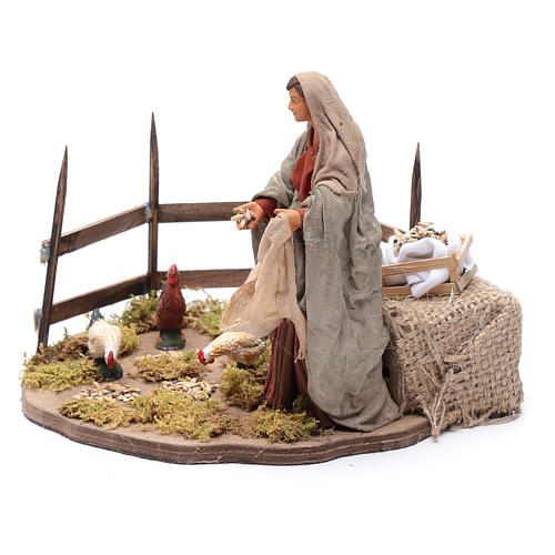 Lady feeding birds, animated Neapolitan Nativity figurine 14cm 2