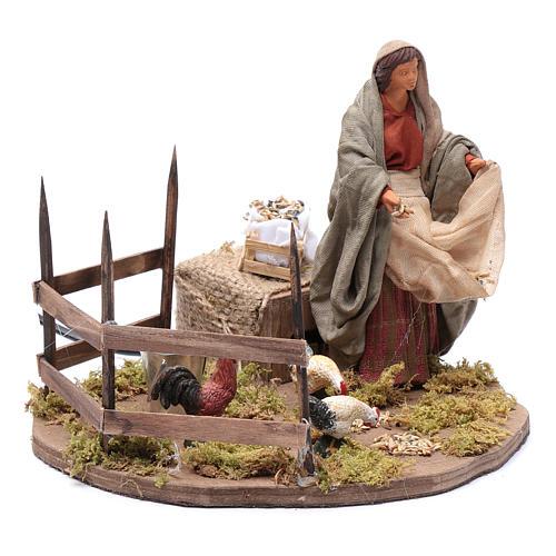 Lady feeding birds, animated Neapolitan Nativity figurine 14cm 3