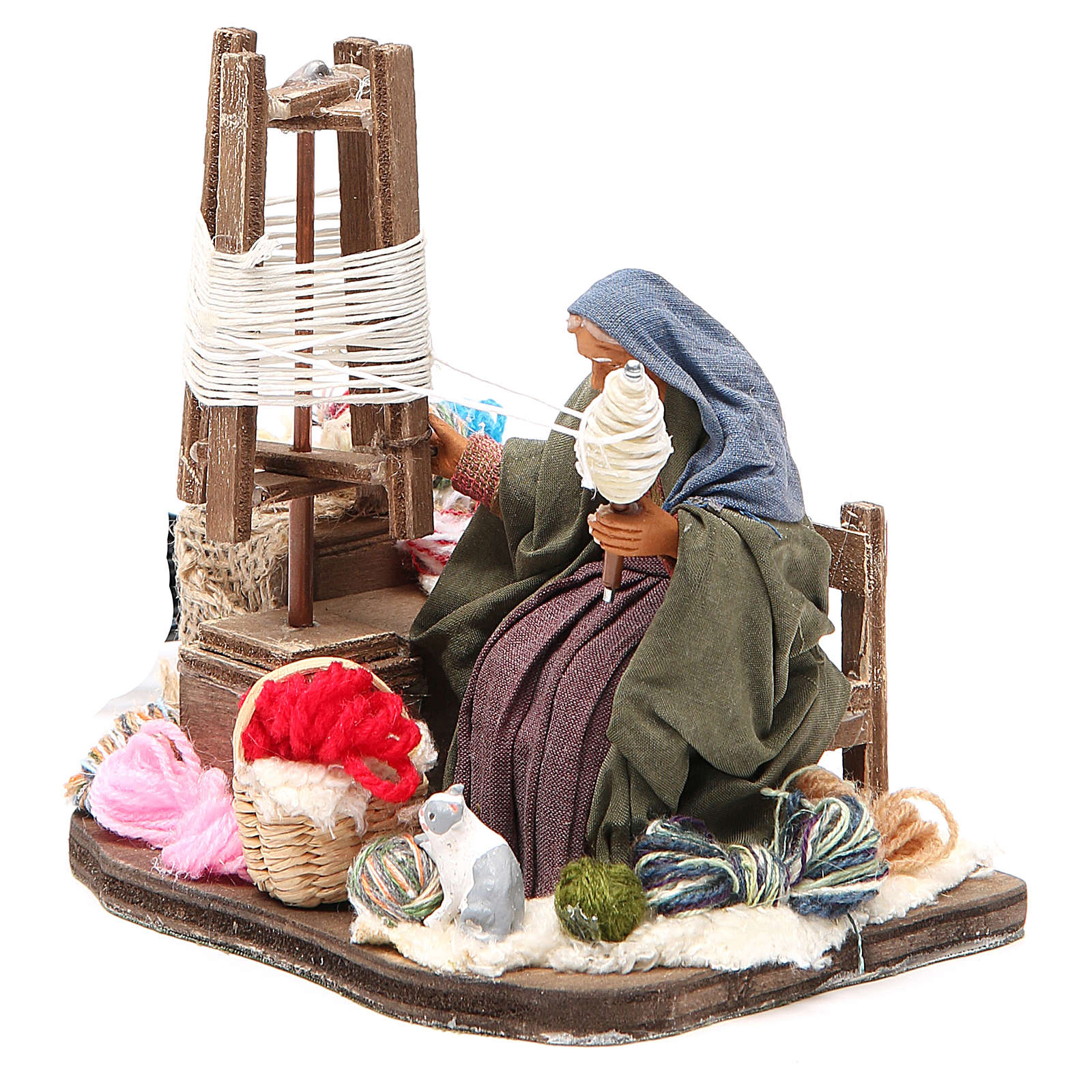 Lady spinning wool, animated Neapolitan Nativity figurine 12cm 4
