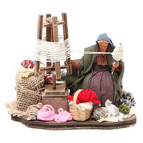 Lady spinning wool, animated Neapolitan Nativity figurine 12cm s1