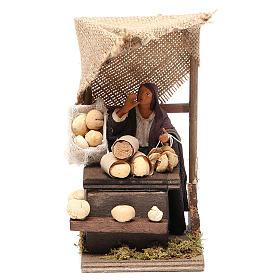 Venditrice di pane con banco 12 cm movimento presepe s1
