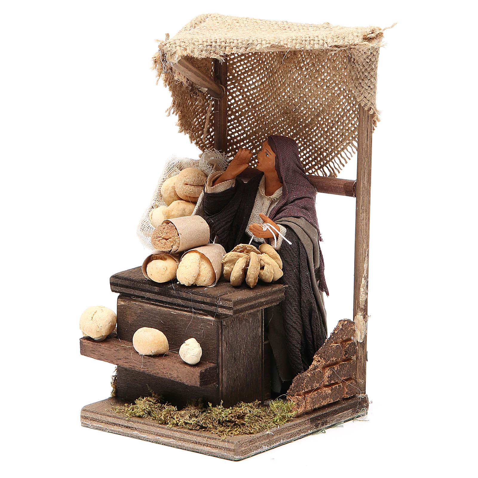Bread seller with stall, animated Neapolitan Nativity figurine 12cm 4