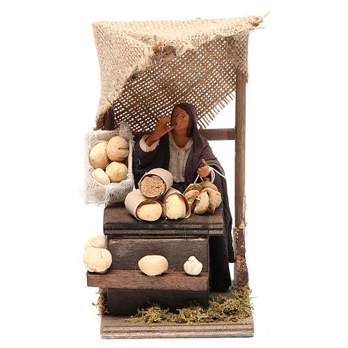 Bread seller with stall, animated Neapolitan Nativity figurine 12cm 1