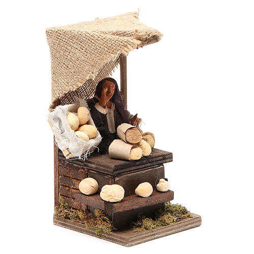 Bread seller with stall, animated Neapolitan Nativity figurine 12cm 3