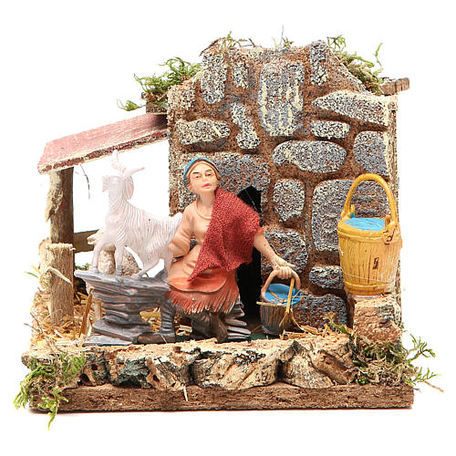 STOCK animated nativity figurine 10cm shepherd and sheep 1