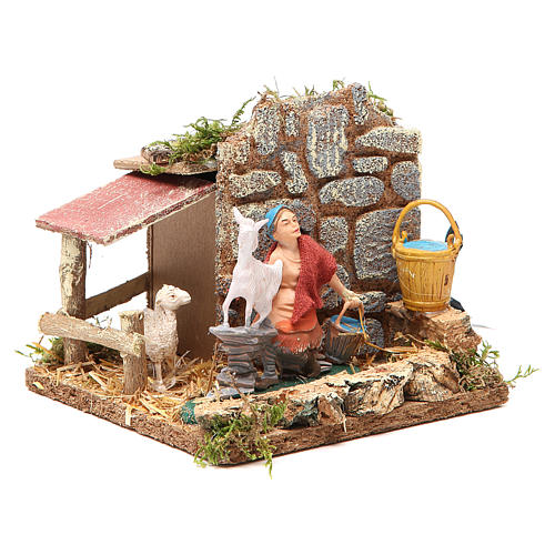 STOCK animated nativity figurine 10cm shepherd and sheep 3