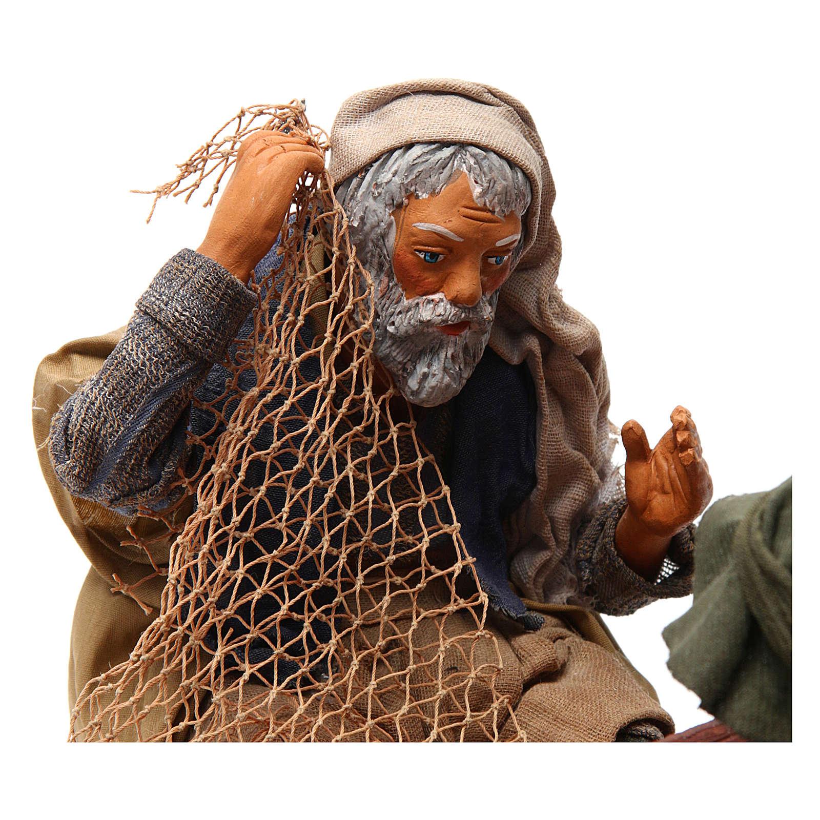 Scena pescatori con barca 24 cm movimento presepe Napoli 4