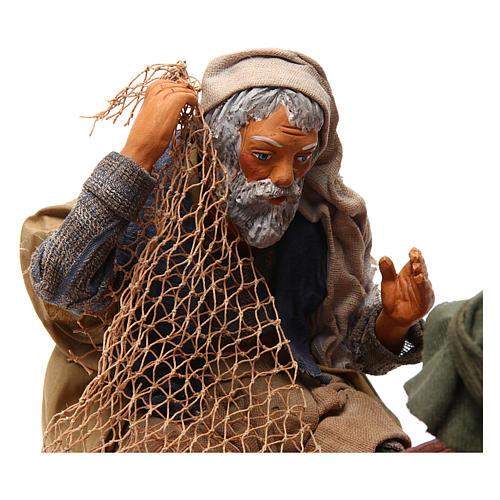 Scena pescatori con barca 24 cm movimento presepe Napoli 2