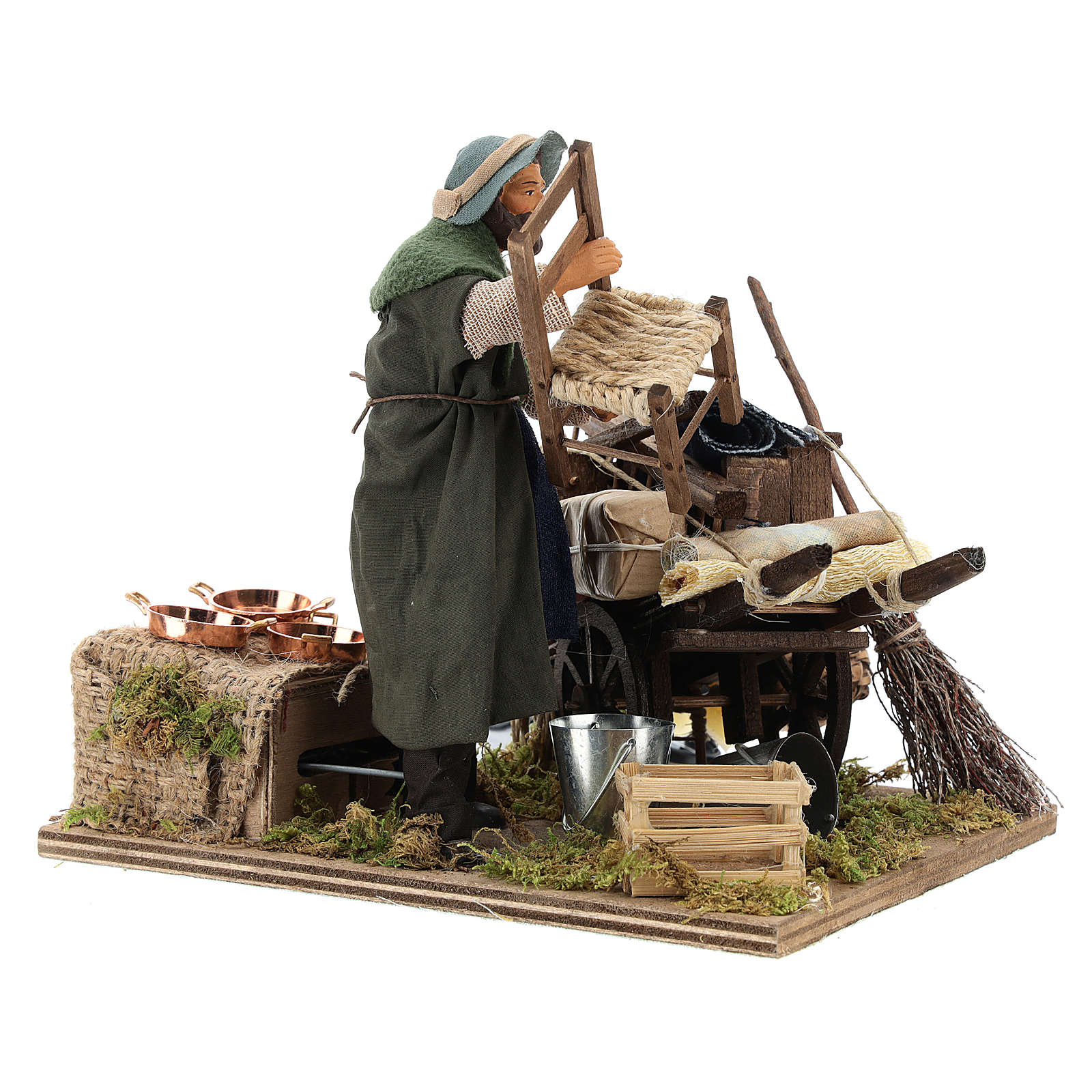 Cart of the evicted for animated Neapolitan Nativity, 14cm 4