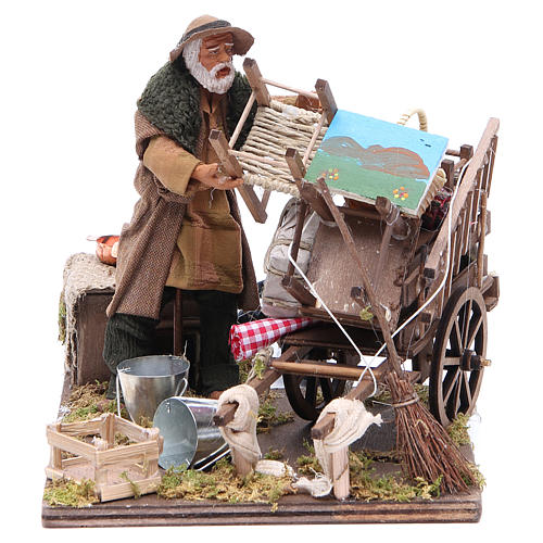 Cart of the evicted for animated Neapolitan Nativity, 14cm 1