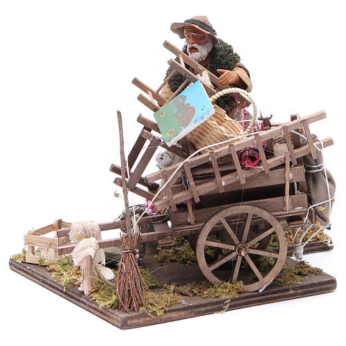 Cart of the evicted for animated Neapolitan Nativity, 14cm 2