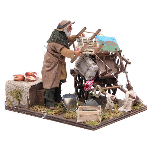 Cart of the evicted for animated Neapolitan Nativity, 14cm 3