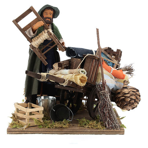Cart of the evicted for animated Neapolitan Nativity, 14cm 5
