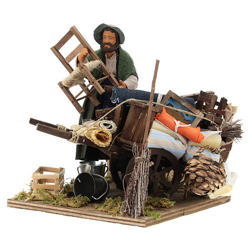 Cart of the evicted for animated Neapolitan Nativity, 14cm 7