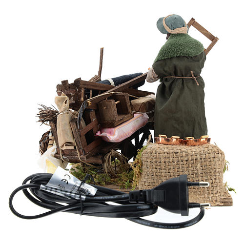 Cart of the evicted for animated Neapolitan Nativity, 14cm 9