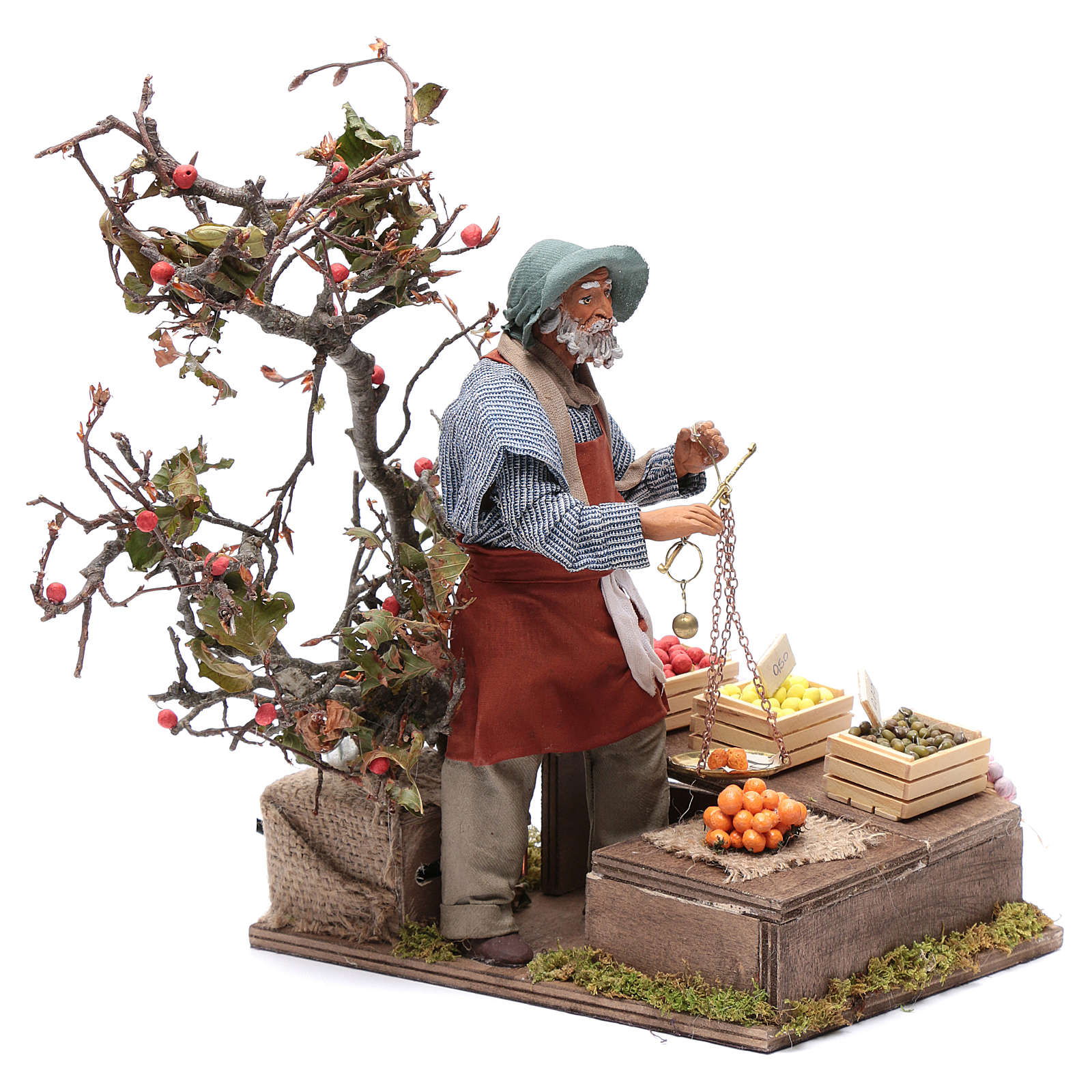 Fruit seller with scales for Animated Neapolitan Nativity, 24cm 4