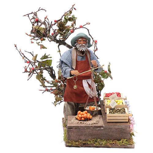 Fruit seller with scales for Animated Neapolitan Nativity, 24cm 1